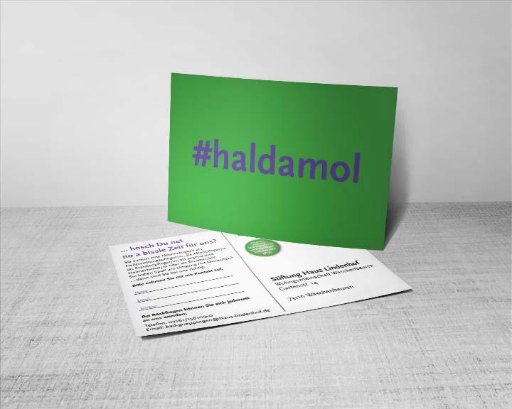 Postkarte #haldamol